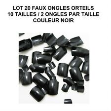 LOT 20 CAPSULES TIPS FAUX ONGLE NOIR ORTEIL PIED PEDICURE GEL VERNIS ONG705