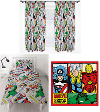 "Marvel Comics Retro Single Duvet Cover Bedding 66x54"" Curtains Rug - 3 Choices"