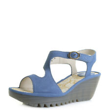 Womens Fly London Yanca Smurf Blue Leather Wedge Sandals Sz Size