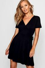 Boohoo Womens Petite Wrap Skater Dress