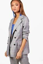 Boohoo Womens Checked Double Breasted Blazer