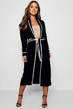 Boohoo Womens Petite Piping Detail Belted Duster