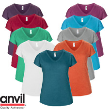 Anvil T-Shirt da donna scollo a V Tre fibre miste morbido moda estate Maglietta