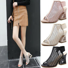 Sexy Women Hollow-Out Slip On Strap Peep Toe Sandals High Heel Block Shoes Mules