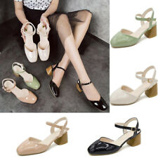 Ladies Patent Leather Square Toe Low Block Heel Sandals Ankle Strap Buckle Shoes