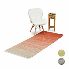 Rag Rug 200 x 80 cm Hallway Floor Rug with Fringes Area Carpet 90 x 60 cm Cotton