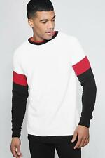 Boohoo Mens Colour Block Knitted Crew Neck Jumper