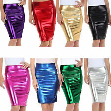 Womens Pencil Skirts Ladies Metallic Shiny High Waist PVC Wet Look Party Bodycon