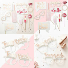 Team Bride Party Hen Night Photo Booth Props Pink Rose Gold Selfie Glasses Game