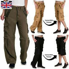 Womens Zip Off Convertible Trousers Multi Pockets Army Casual Cargo Ladies Pants