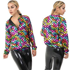 Womens Coat Ladies Fish Scale Mermaid Metallic Shiny Festival Rainbow Jacket New