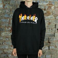 Thrasher Flame Mag Pullover Hoodie Hooded Sweatshirt – Black in size M,L