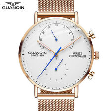 GUANQIN Men's Quartz Thin Luxury Minimal Chronograph Stainless Steel Watch
