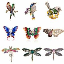 Crystal Animal Butterfly Dragonfly Bird Brooch Pin Womens Costume Jewellery Gift