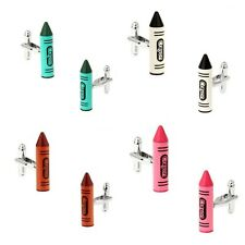 Novelty Colour Crayon Cufflinks Pencil Style For Men Gift