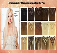 KIT EXTENSIONS A CLIPS CHEVEUX 100% NATURELS REMY HAIR 85-125G 42 49 60CM ss 48H
