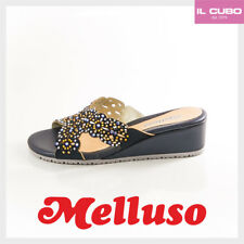 MELLUSO SANDALO DONNA COLORE BLU CON STRASS ZEPPA H 4 CM NEW SHOES MADE IN ITALY