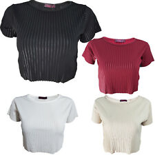 Womens Tops Ladies Crop Striped Short Sleeves Plain Loose Shirt Casual Size 8-14
