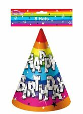 Pack of 8 Funky Happy Birthday Party Hats Childs Fancy Party Tableware Accessory
