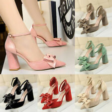 UK Women Suede Bowknot Point Toe Ankle Strap Block Sandals Party High Heel Shoes