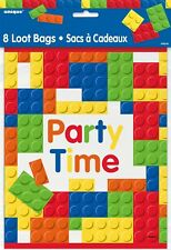 Adult Building Blocks Party Time Bags Pack of 8 Childs Birth day Party Accessory