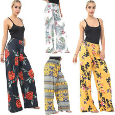 Womens Trousers Ladies Palazzo Floral Print High Waist Wide Leg Summer Pants New