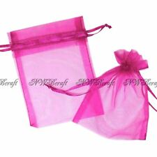 Fuchsia Pink Organza Gift Favour Bags Wedding Jewellery Drawstring Pouches