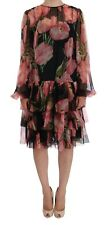 DOLCE & GABBANA BLACK PINK TULIPS FLORAL SILK RUFFLED DRESS - RRP £2271 - SIZE