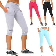 Ladies Womens 3/4 Shorts Jog Cropped Bottoms Capri Trouser Stretch Pant New