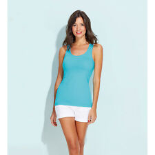 Womens Ladies Jane Sleeveless Tank Top Vest Summer Cotton Casual Plain T Shirt