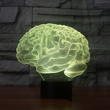 Brain Shape 3D Illusion Lamp Color Change Touch Switch LED Halloween Night Light