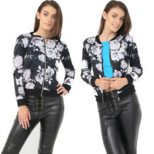 Womens Floral Rose Print Bomber Jacket Ladies Zip up Casual Coats Plus Size 8-22