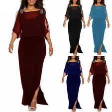 Women Chiffon Half-Sleeve Party Casual Formal Split Hem Long Dress Plus Size