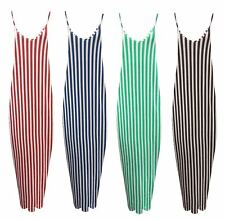 Womens Maxi Summer Cami Dress Ladies Striped Print Full Long Strappy Size 8-26