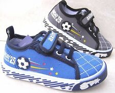 BOYS BABY BLUE GREY LEATHER INSOLES TRAINERS NURSERY FOOTBALL CANVAS PRAM SHOES