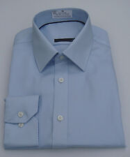 Ex M&S Mens New Cotton Slim Fit Sky Blue  Long sleeves Twill Shirt Size 15