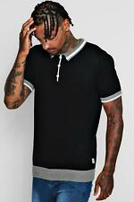 Boohoo Mens Short Sleeve Knitted Polo with Tipping