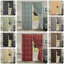 Pencil Pleat Jacquard Curtains 2 Panels Fully Lined Tape Top 90 x 90 & 66 x 72