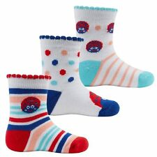 Baby Girl Toddler Ladybird Socks x 3 Pack White Blue Red by Tick Tock