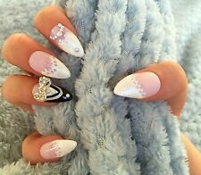 FALSE NAILS - Wedding, Bride/Groom, Lace French - Stick On - The Holy Nail
