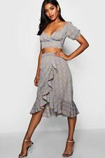 Boohoo Womens Prince of Wales Check Crop Top & Skirt Co-ord