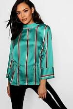 Boohoo Womens Emma Stripe Satin Draw Cord Funnel Neck Blouse