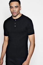 Boohoo Mens Muscle Fit Rib Knitted Short Sleeve Polo.