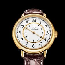 KS Fashion Mens Dial Automatic Stainless Steel Leather Round Analog Wrist Watch