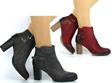 NEW LADIES MID HIGH BLOCK HEEL GREY WINE FAUX SUEDE ANKLE BOOTS SHOES SIZE 3-8