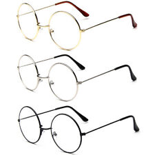 Oversized Metal Frame Nerd Women Men Clear Lens Round Circle Eye Glasses Large