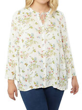 287259e4239 New Women Evans Off-White Floral Print Blouse Tie Neck Tunic Top Plus Size  14
