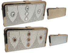 Ladies Stone Shiny Party Prom Evening Hand Bag Glitter Shimmer Wedding Clutch