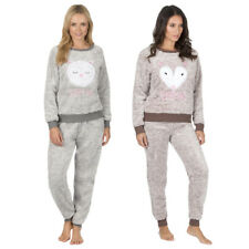 Ladies Women Novelty Animal Two Tone Snuggle Fleece Lounger Pyjama Set Nightwear