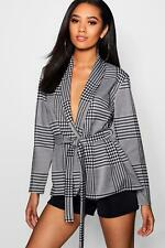 Boohoo Womens Petite Check Belted Duster Jacket